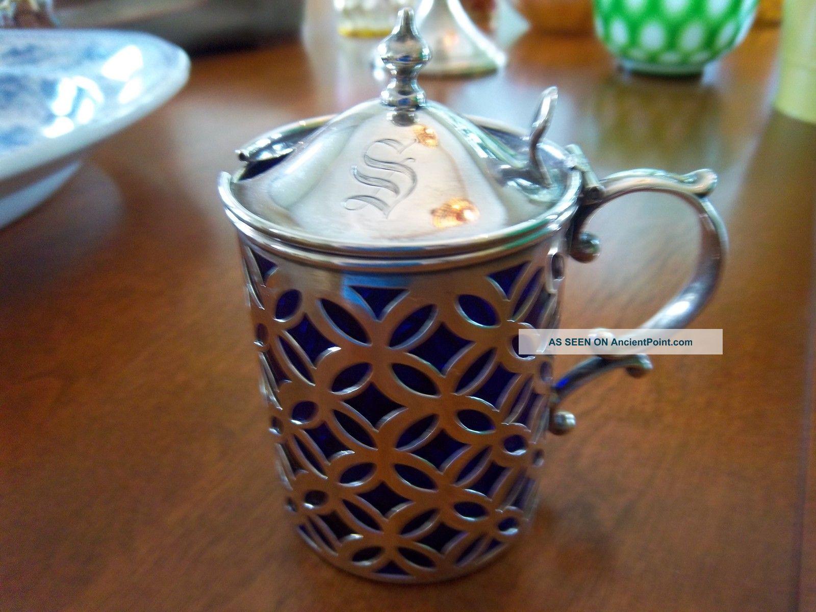 Vintage Pierced Sterling Mustard Pot W/ Cobolt Liner 1901 Mustard Pots photo