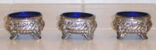 3 Matching French Salt Cellars G.  Keller Sterling Silver Blue Crystal Liners photo