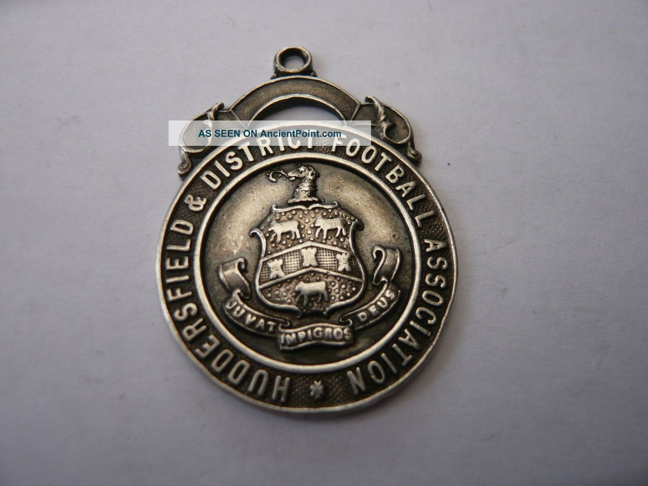 Good Vintage Sterling Silver Pocket Watch Chain Fob Medal Football Huddersfield Pocket Watches/ Chains/ Fobs photo