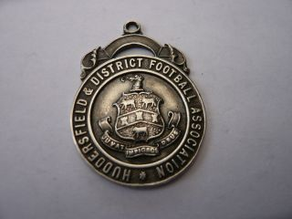 Good Vintage Sterling Silver Pocket Watch Chain Fob Medal Football Huddersfield photo