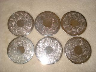 Set Of 6 Small Silver Plated Coasters photo
