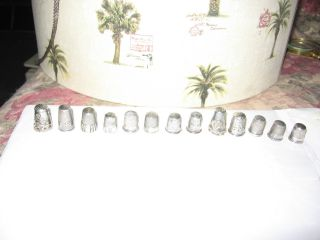 13 Vintage/antique Sterling Silver Thimbles - Some Very Ornate photo