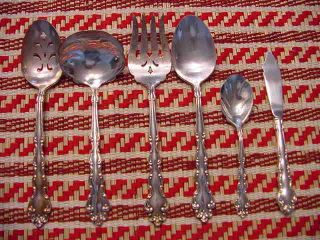 Oneida Community Modern Baroque Silverplate Serving Spoon Meat Fork Butter Berry photo