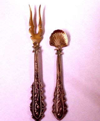 Mini Silver Serving Fork & Spoon.  Vintage photo