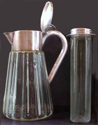 Antique Art Deco Silver Plate Glass Carafe Decanter Jug Pitcher Made In Germany photo