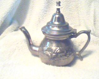 Vintage;;middle Eastern;;ornate Batchelor Silver,  Metal;,  Teapot;signed 308grms photo