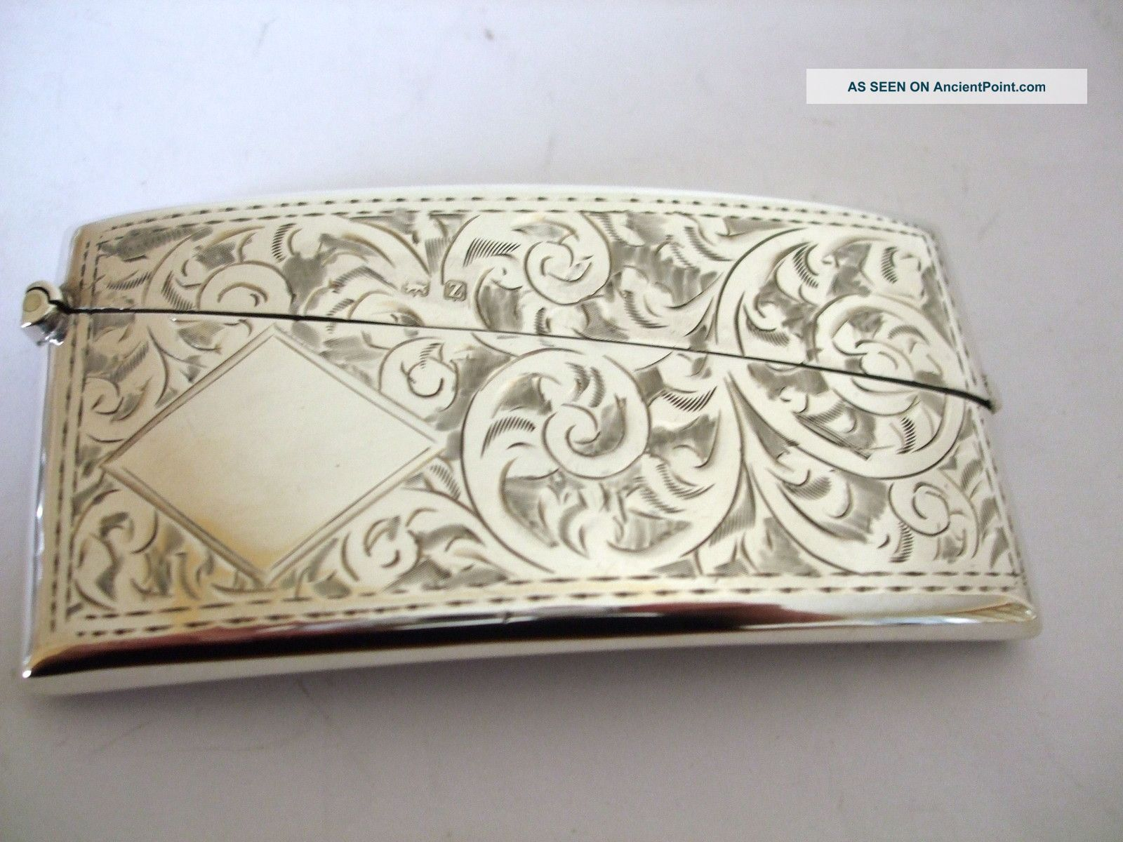 Vintage Silver Visiting Card Case Swag And Swirl Decoration Art Deco Hm 1924 Card Cases photo