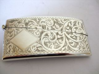 Vintage Silver Visiting Card Case Swag And Swirl Decoration Art Deco Hm 1924 photo