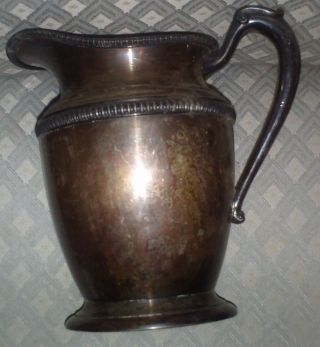 Vintage Primitive Crescent Silver Company Plated Pitcher Jug Antique Old Rare photo