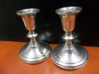 Sterling Towle Pair Of Weighted And Reinforced Candle Holders Profax Liner photo