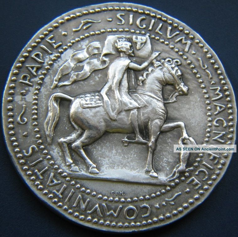 Antique Italy Eroupe Papie Sigilvm Magnifice Comvnitatis Necchi Silver Medal Vf Spain photo