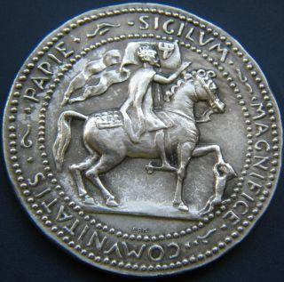 Antique Italy Eroupe Papie Sigilvm Magnifice Comvnitatis Necchi Silver Medal Vf photo