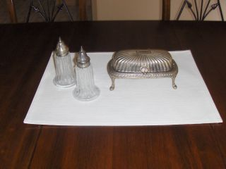 Vintage Silver Plate Roll Top Butter Dish & Salt & Pepper Shakers photo