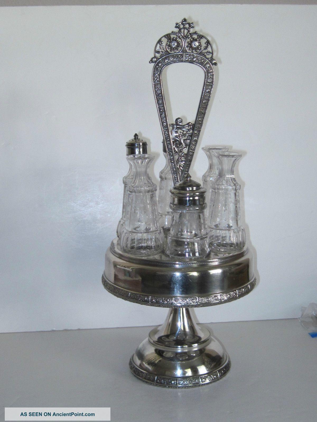 Antique Victorian Silver Cruet Set - W/6 Bottles Bottles, Decanters & Flasks photo