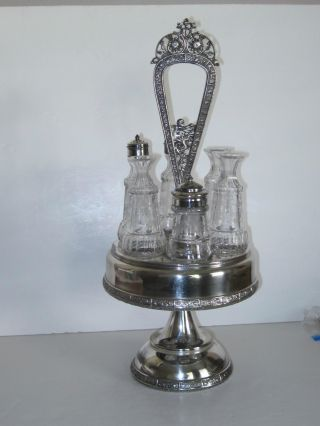 Antique Victorian Silver Cruet Set - W/6 Bottles photo
