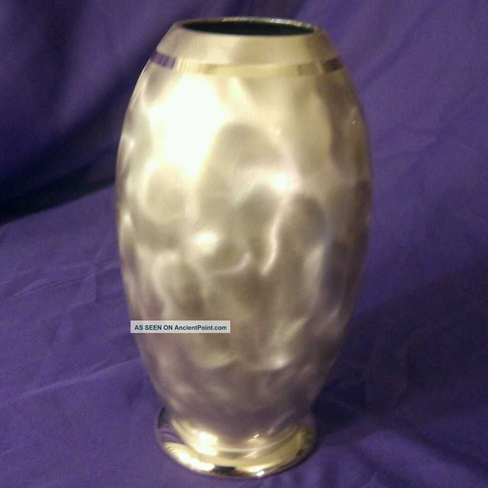 Vintage German Art Deco Wmf Ikora Copper Effect Silver Plated Vase 7