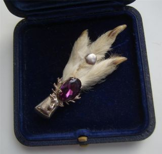 Vintage H/m Edinburgh Scottish Mizpah Grouse Foot Amethyst Brooch Kilt Pin photo