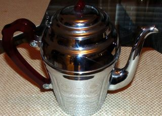 Vintage Red Bakelite Handle Teapot,  Cromwell Chromium Silver Mfg.  Corp. photo