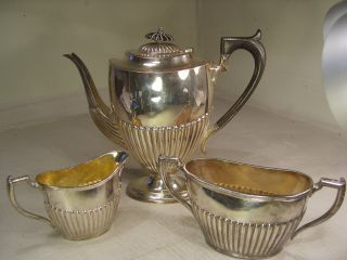 3 Piece Silver Plate Teapot Set photo