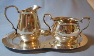 Reed & Barton Silverplate 965 Creamer,  Sugar Bowl & Tray photo