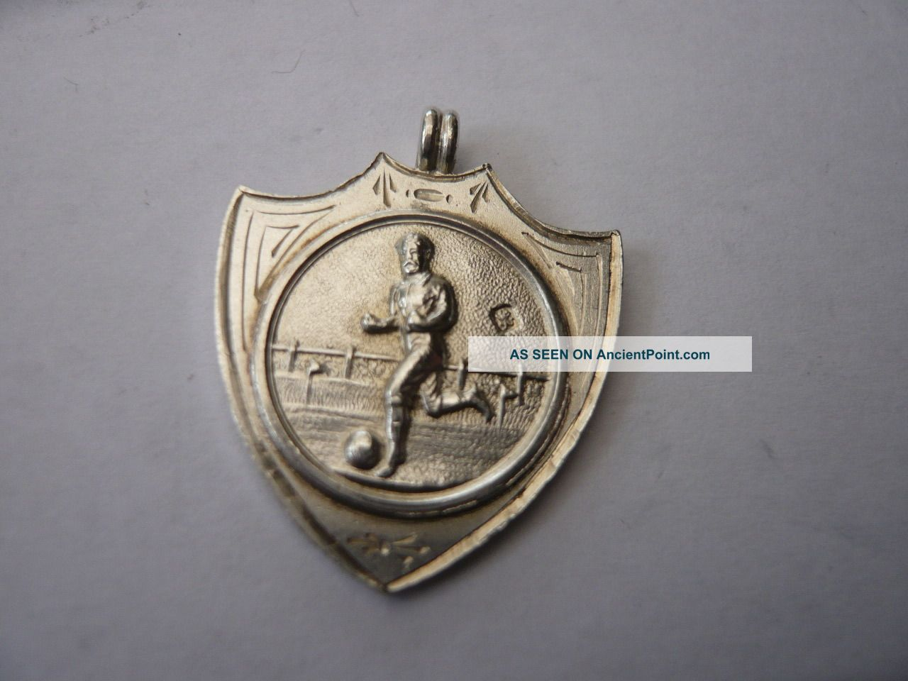 Vintage Sterling Silver Pocket Watch Chain Fob Medal Football Pocket Watches/ Chains/ Fobs photo