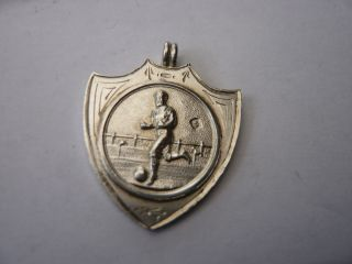 Vintage Sterling Silver Pocket Watch Chain Fob Medal Football photo