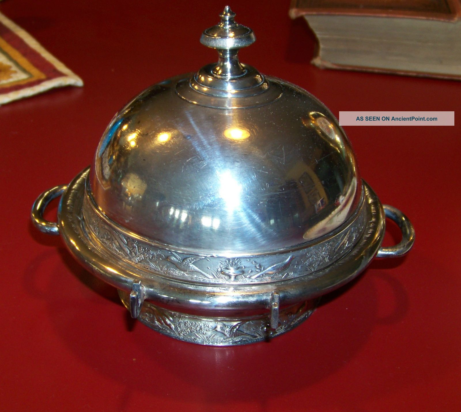 Antique Silverplate Butter Dish Rogers Smith & Co Repouse Birds Flowers Urns Butter Dishes photo