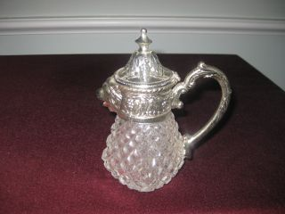 Silver - Plate/cut Crystal/syrup Pitcher With Lions Head photo