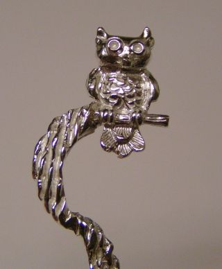 Salt Spoon (owl On Bark) Sterling Silver photo