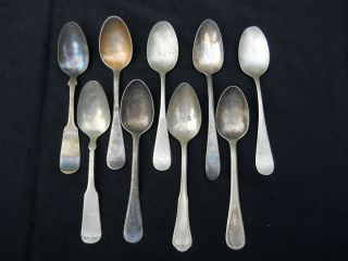 Mixed Lot 9 Vintage Nickel Silver Or Silver Plate Spoons Rogers 1847 Ovb Meriden photo