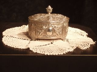Antique Silver Repousse ' Footed Wedding Box photo