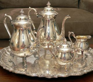 Art Nouveau Motif Sheridan Silver 5pc Coffee & Tea Service Silver On Copper Mint photo