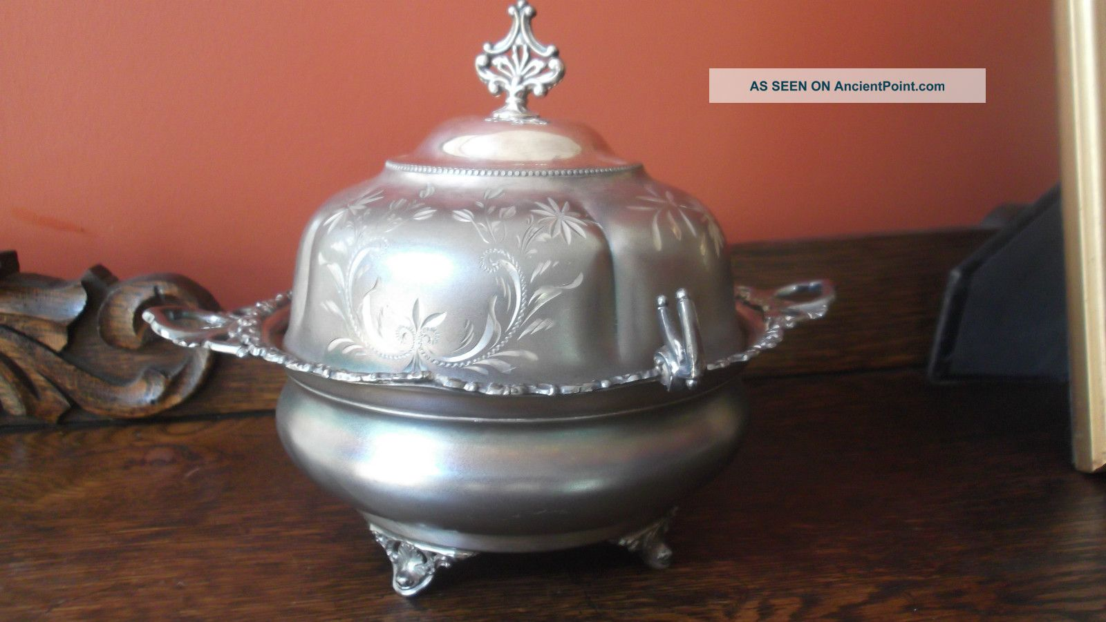 Antique Ornate Silver Plate Covered Butter Dish Butter Dishes photo
