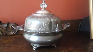 Antique Ornate Silver Plate Covered Butter Dish photo