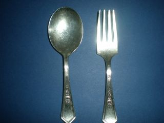 Vintage Rogers Silverplate Baby ' S First Fork & Spoon,  Could Be Monogramed photo