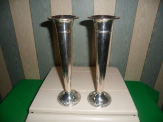 Pair Of Rogers Weighted Sterling Silver Candlesticks 175g 6.  2 Oz Not Scrap photo