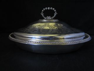 Victorian Epns Silver Plated Entree Dish With Chased Banded Decoration photo