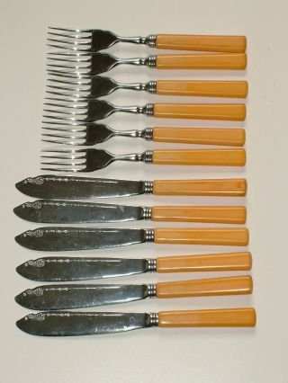 Chrome Plate Set Of 6 Knives And 6 Forks Cutlery photo