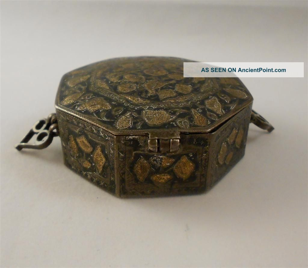 Vintage Tobacciana Chinese Export Silver 925 Gold Snuff Mourning Box No Scrap Asia photo