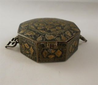 Vintage Tobacciana Chinese Export Silver 925 Gold Snuff Mourning Box No Scrap photo
