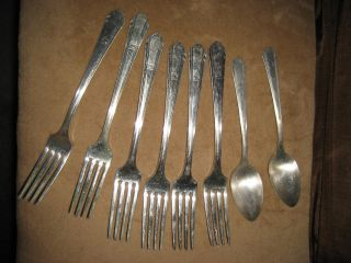 Vintage 6 Forks & 2 Teaspoons Wm.  Rogers Overlaid Oneida Ltd. photo