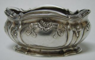 French 950 Sterling Silver & Crystal Open Salt Cellar Dish Page Freres 1900 photo