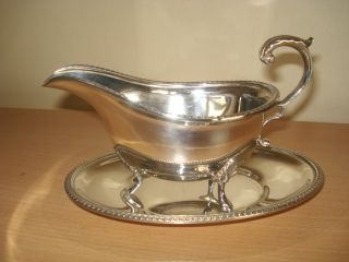 Top Quality Silver Plated Sauce Boat & Stand photo