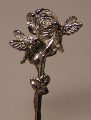 Salt Spoon (rose & W/ 2 Hummingbird) Sterling Silver photo