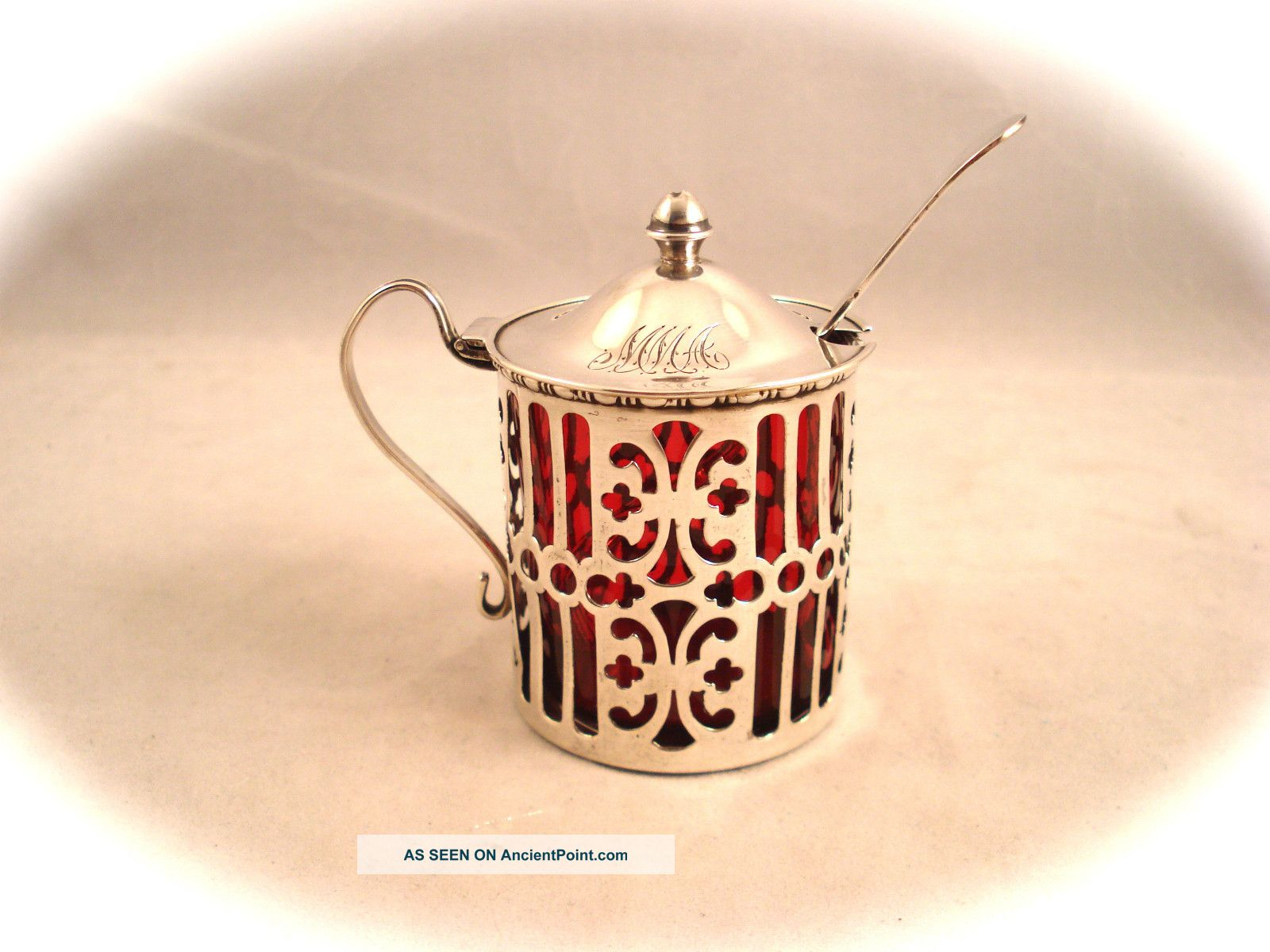 Antique Gorham Reticulated Sterling Silver Cranberry Glass Mustard Pot,  Excellent Mustard Pots photo