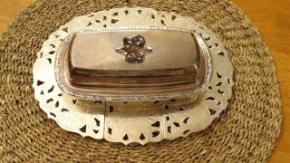 Vintage Silver Plate Expandable Trivet & Ornate Butter Dish W/lid photo