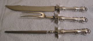 Silverplate Cutlery Set Carving Knife Fork Sharpening Antique Troy Pattern 1902 photo