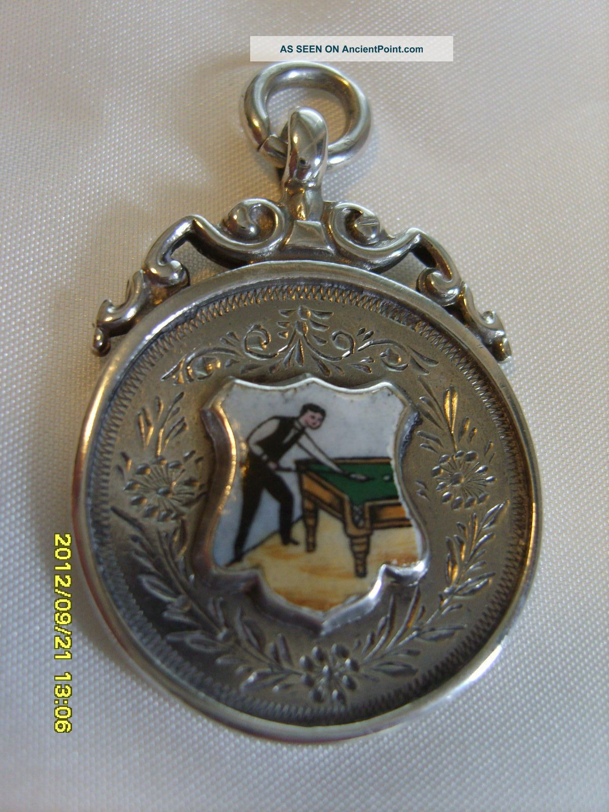 1911 Sterling Silver Enamelled Snooker Player Pocket Watch Fob/medal Pocket Watches/ Chains/ Fobs photo