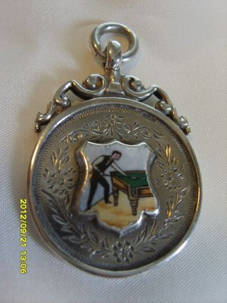 1911 Sterling Silver Enamelled Snooker Player Pocket Watch Fob/medal photo