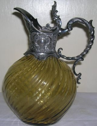 Silver Plated Amber Wrythen Glass Claret Jug. photo